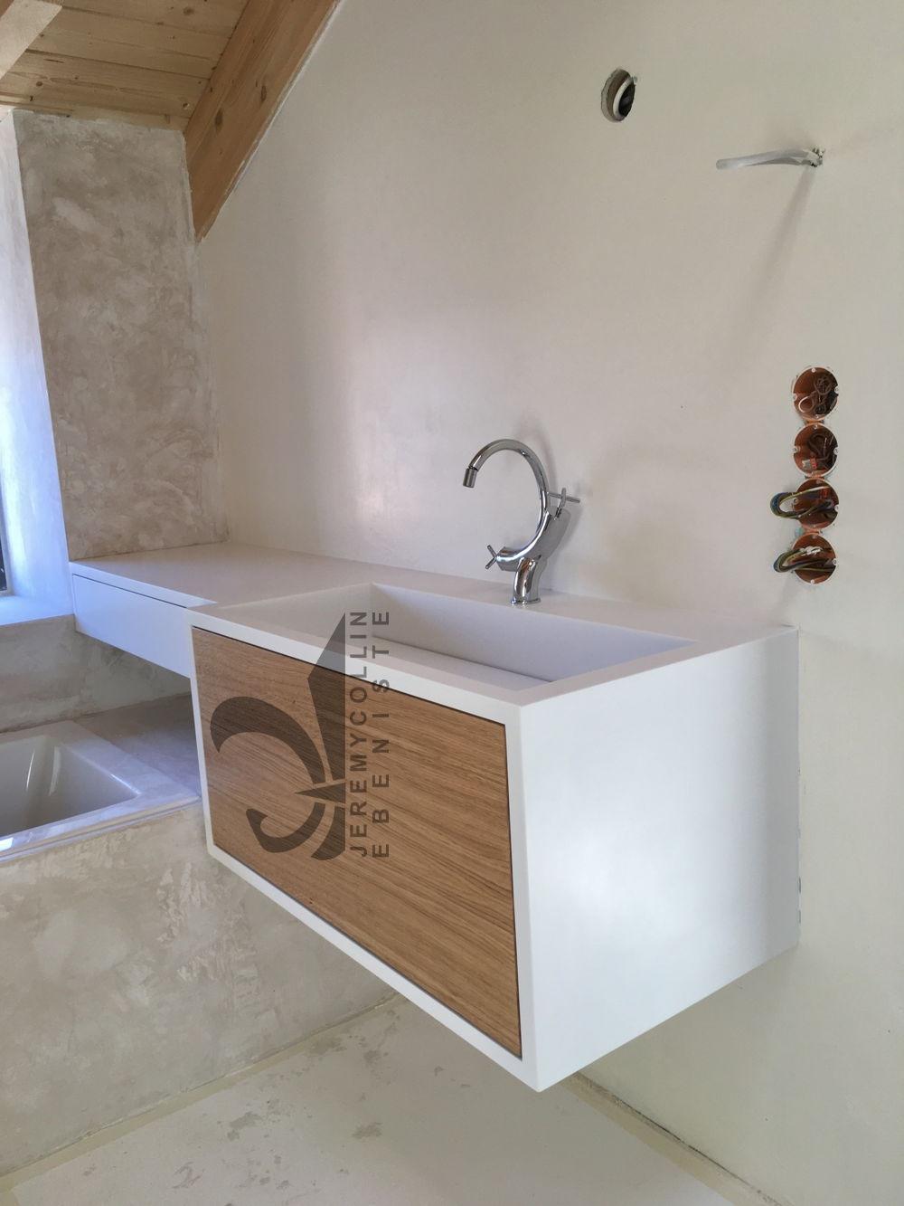 Meuble salle de bain corian plan vasque en corian avec for Meuble salle de bain corian